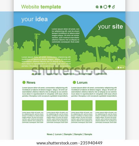 Eco Website Template vector - stock vector