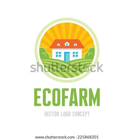 Ecofarm - vector logo concept. Organic product farm illustration. Ecology product emblem. Vector logo template.  - stock vector