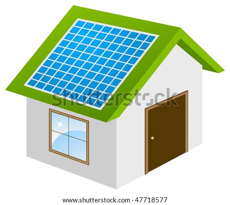 Ecohouse with solar panels 3d model. Vector illustration, isolated on a white. - stock vector