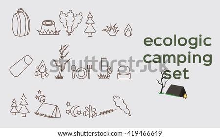 Ecologic camping set - stock vector
