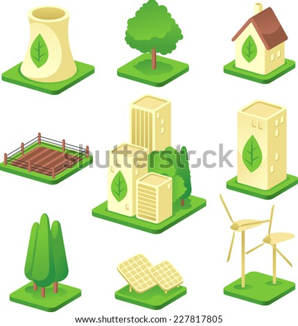 Ecologic city Green Environmental Built Structure Nature Energy Power Generation icons. Vector illustration. - stock vector