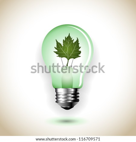 ecologic light bulb with leaf - abstract vector art illustration