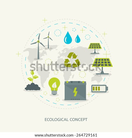 Ecologic recycling and renewable energy concept in flat style. Environmental background - stock vector