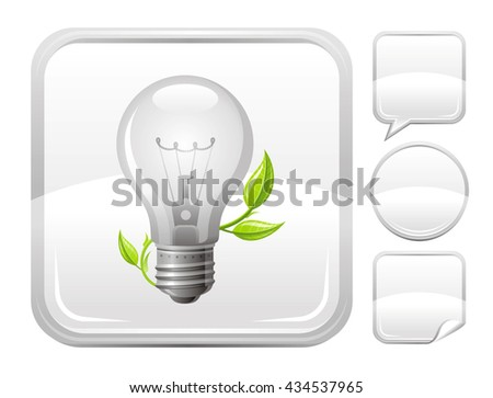 Ecological and environment protection icon with light bulb and sprout and set of other blank buttons. Speaking bubble, circle, sticker - stock vector