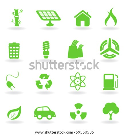 Ecological and environment related symbols icon set - stock vector