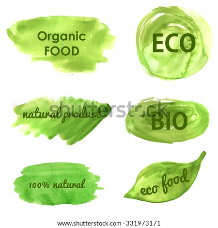 Ecological and nature banners. Go green, healthy food, organic, eco, bio phrases on watercolor painted green banners and backgrounds