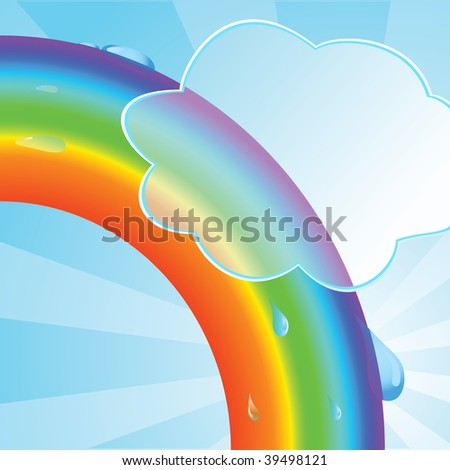 Ecological background with a rainbow. Vector illustration - stock vector