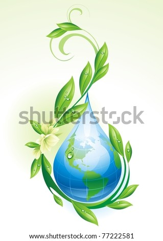 Ecological background with the globe in the form of a drop. Vector illustration. - stock vector