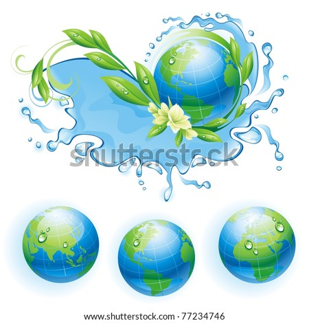 Ecological background with the globe. Water splash and  three globes. Vector illustration. - stock vector