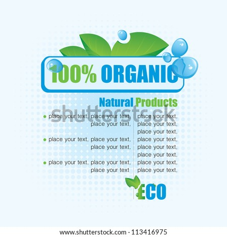 Ecological banner 100% natural product - stock vector