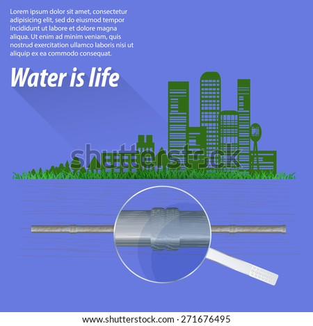 Ecological city infographics. The impact of urbanization on nature and the environment. - stock vector