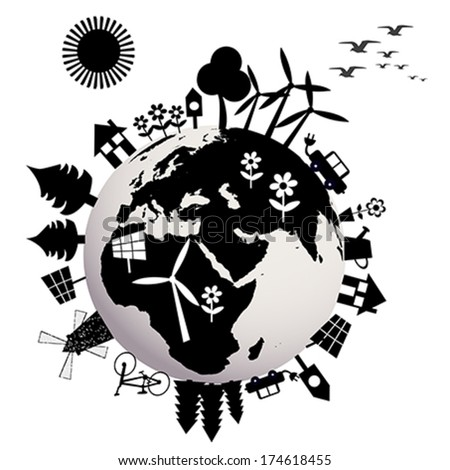 Ecological concept with Earth globe - stock vector