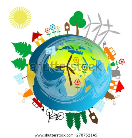 Ecological concept with Earth globe and alternative energy sources - stock vector
