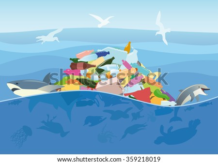 Ecological disaster of plastic trash in the ocean. Dead turtle, jellyfish, seabirds and fish on a background of debris at the sea. - stock vector