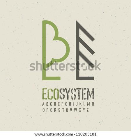 Ecological emblem template. Vector illustration, EPS10 - stock vector