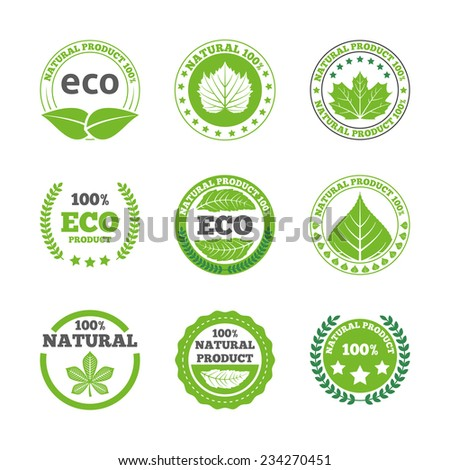 Ecological green leaves symbols earth friendly organic quality bio products round labels collection abstract isolated vector illustration