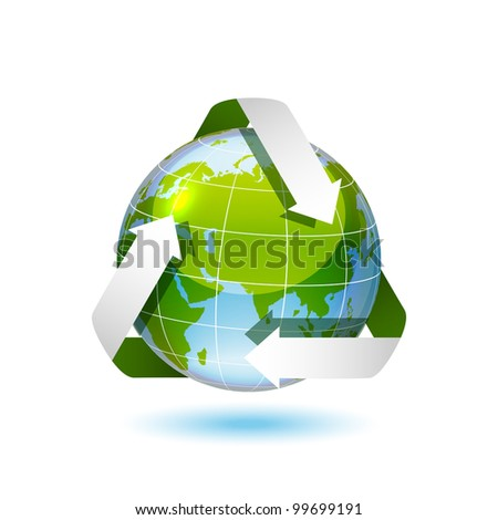 Ecological icon of earth, vector illustration, eps10 - stock vector