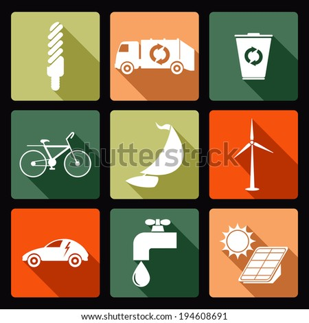 Ecological icons - stock vector