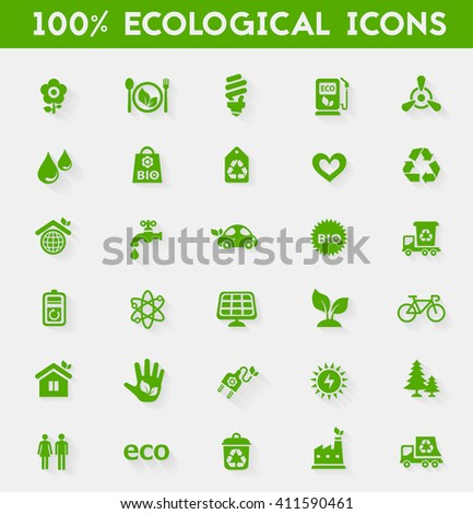 Ecological icons collection - stock vector