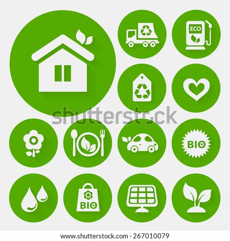 Ecological icons collection on round green buttons - stock vector