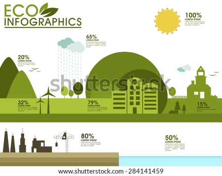 Ecological infographic elements layout with illustration of green city view for professional reports presentation.  - stock vector