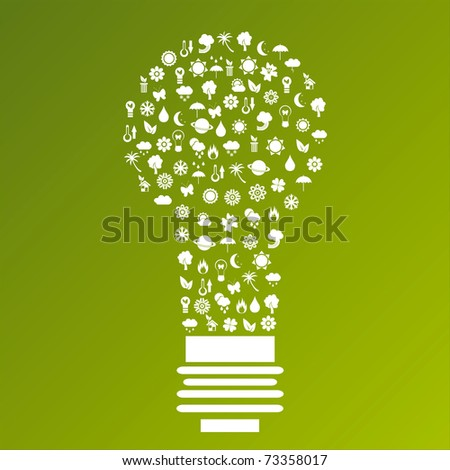 ecological lamp made of icons - stock vector