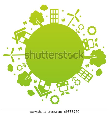 ecological planet isolated on white - stock vector