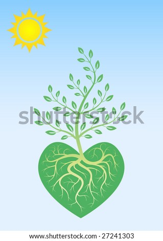 Ecological poster: to love and preserve the nature - stock vector