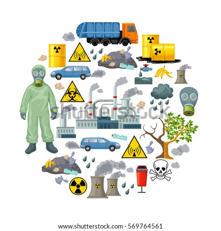 Ecology Problems Infographic Elements Flat Styleindustrial Stock ...