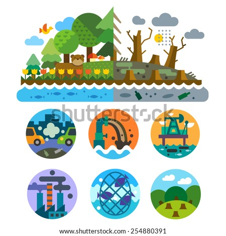 Ecological problems: pollution of water, earth, air, deforestation, destruction of animals. Mills and factories. Forest landscape. Environmental protection. Vector flat illustration and emblems set - stock vector