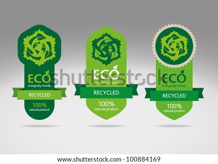 Ecological recycle labels - logo vector icons - stock vector
