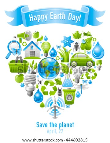 Ecological set poster design with icons in heart for Earth day or other environment protection concept. Recycling symbol, Earth globe, garbage can, electric car, light bulb, insect, wind turbine - stock vector