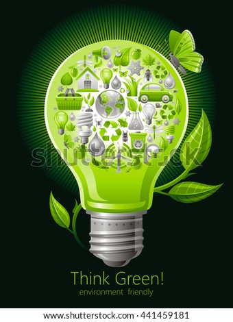 Ecological set with green icons on black background for environment protection concept with green lightbulb, sprout and butterfly. Recycling icon, Earth globe, garbage can, electric car, organic food - stock vector