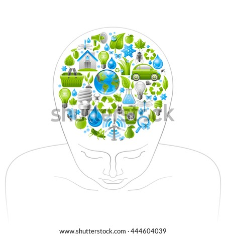 Ecological set with green icons on white background for environment protection concept in brain human head. Recycling symbol, Earth globe, garbage can, electric car, light bulb, insect, wind turbine - stock vector