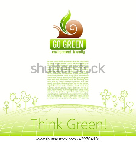 Ecological symbol logo with snail shell and green plant leaf. Ecology and nature concept. For gardening, environment, tourism topics. Flat silhouette vector icon on white background - stock vector