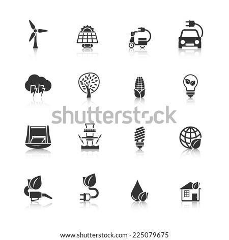 Ecologically clean planet and energy saving solutions black icons set with dam windmill abstract isolated vector illustration - stock vector