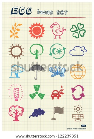 Ecology and environment web icons set drawn by color pencils. Hand drawn vector elements pack isolated on paper - stock vector