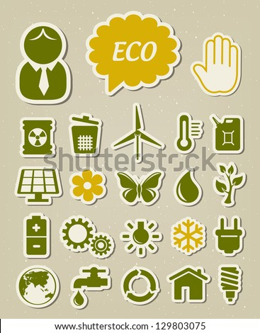 Ecology and environmental icons set - stock vector