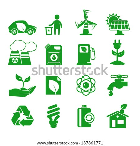 Ecology and green energy icons set - stock vector