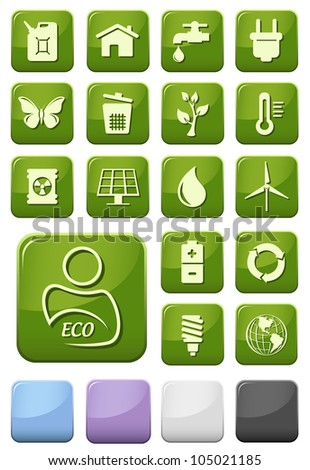 Ecology and green environment buttons set - stock vector