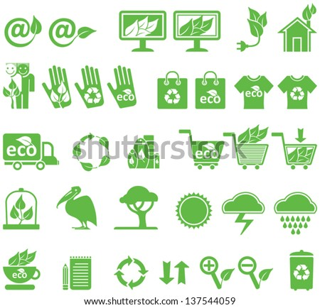 Ecology and market icons, vector set.