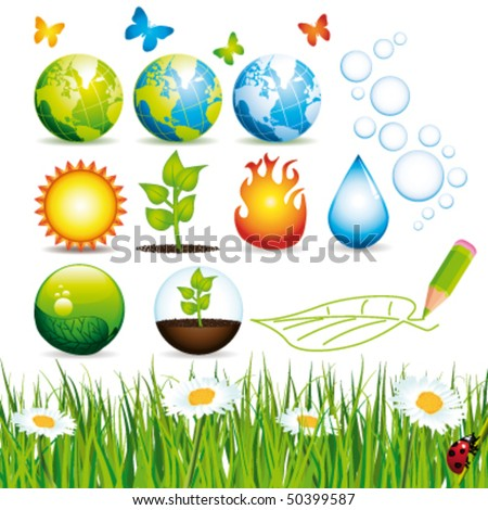 Ecology and nature icons. Vector set. - stock vector