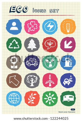 Ecology and nature web icons set drawn by chalk. Hand drawn vector elements pack isolated on paper - stock vector