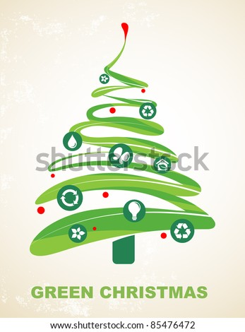Ecology and recycling Christmas vector background - stock vector
