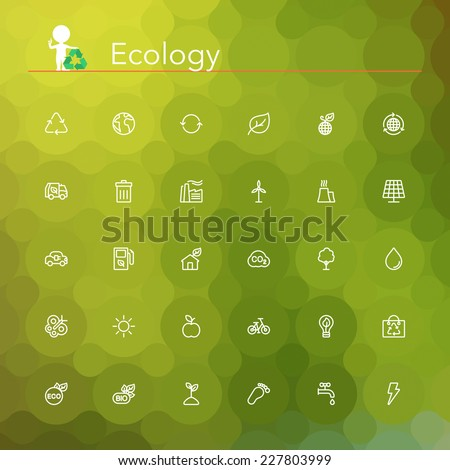 Ecology and Recycling line Icons set. Vector illustration. Geometric background. - stock vector