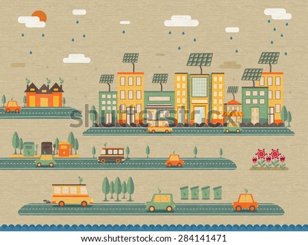 Ecology and save energy concept, infographic elements with illustration of a urban city.  - stock vector