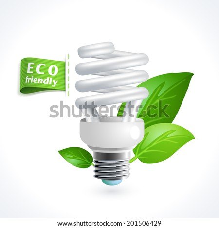Ecology and waste global environment recycling energy saving lightbulb symbol isolated on white background vector illustration