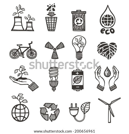 Ecology and waste icons set of plants garbage recycling isolated vector illustration - stock vector