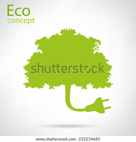 Ecology and waste plug symbol with eco friendly tag isolated on white background illustration