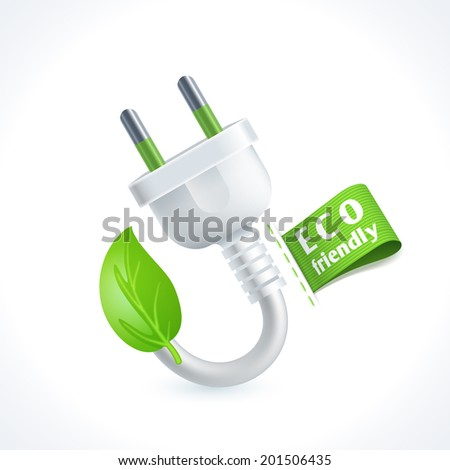 Ecology and waste plug symbol with eco friendly tag isolated on white background vector illustration - stock vector
